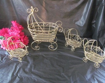 Set of 4  Gold Wire Baby Carriage Prams  - Great for Baby Shower or Christening Decorations  #1005/1275