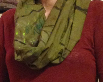Hand painted one of a kind infinity scarf - olive green