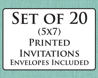 Set of 20 Printed Invitations (Envelopes Included)