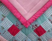 Rose Baby Quilt, Floral Baby Quilt, Aqua Baby Blanket, Turquoise Baby Bedding, Girl's Baby Blanket, Rose Baby Blanket, Rose Baby Shower