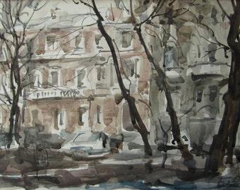 In the yard - original watercolor