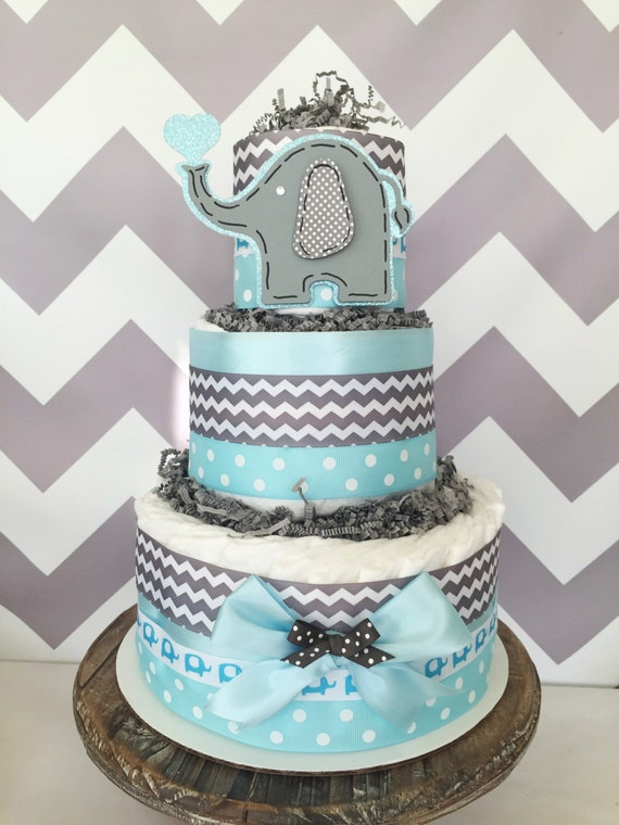Chevron elephant centerpiece in blue and gray diaper