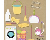 Digital Scrapbooking Kit Chore Time Cleaning Clip Art Graphics for Girls / Pink Purple Yellow Teal / Laundry Day / Spring Cleaning