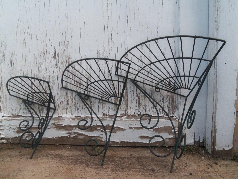 vintage wrought iron corner shelf trio. Black Bedroom Furniture Sets. Home Design Ideas