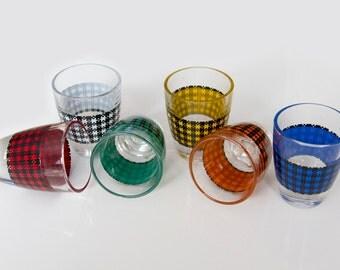 Houndstooth shot glasses, Made in France, French glassware, Multicoloured shot glasses