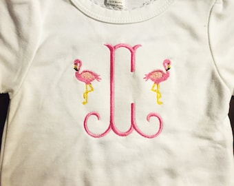 Toddlers Monogram Initial Flamingo Tshirt