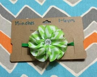 1-6 Year Old Sized Chevron Flower Headband w/ Jewel Center (15 inches)