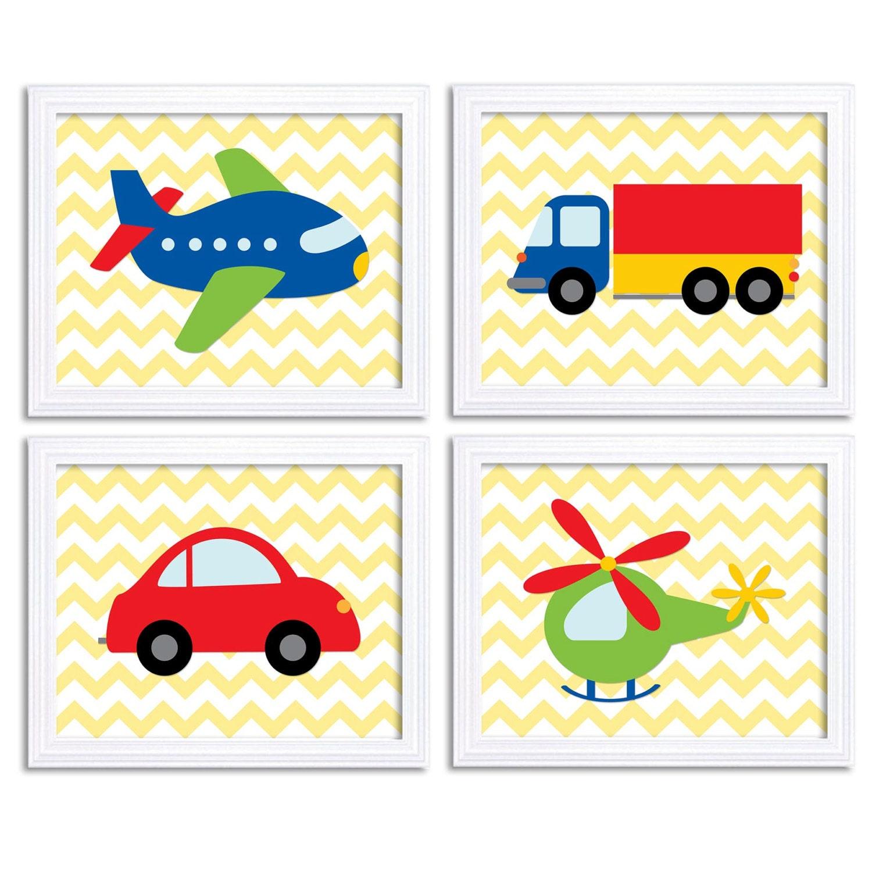 Transportation Nursery Art Set of 4 Print Colorful Chevron Red Blue Green Yellow Child Kid Boy Room