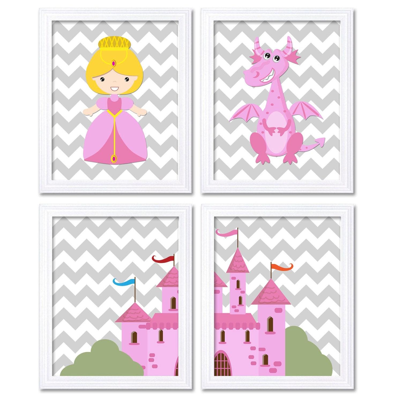 Fairy Tale Nursery Art Child Baby Set of 4 Art Prints Pink Grey Chevron Girl Princess Dragon Castle