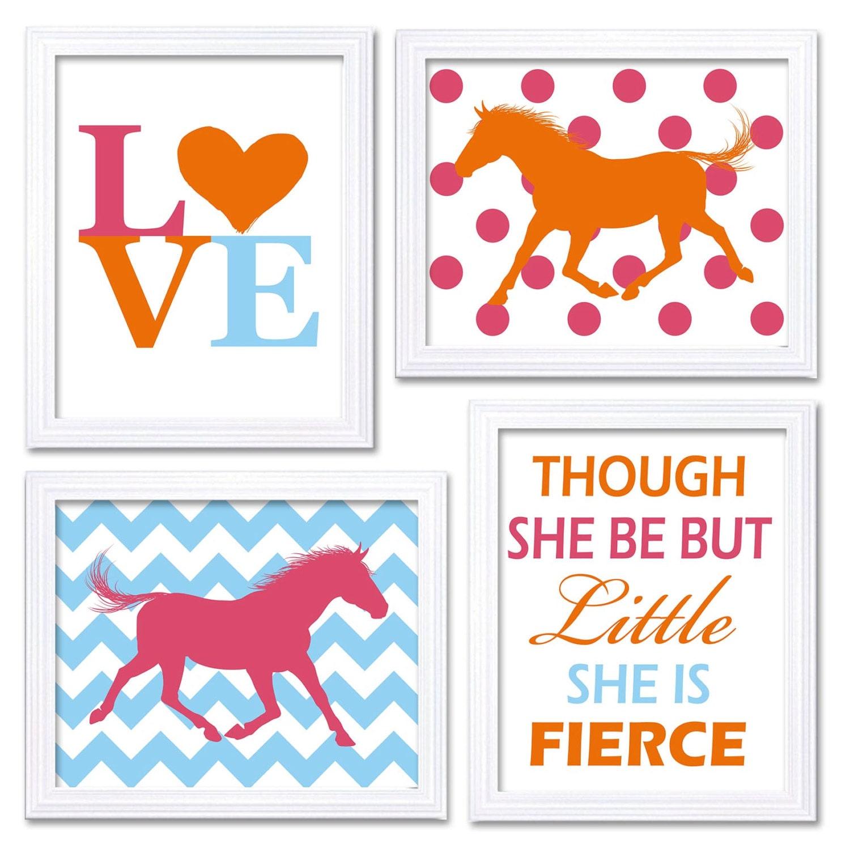Horse Nursery Art Blue Pink Orange Prints Set of 4 LOVE Though She be but Little She is Fierce Chevr