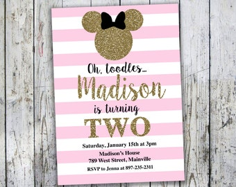 Minnie Mouse Birthday Party Invitation, Pink, Gold, Glitter, Sparkle, ANY AGE - Printable or Printed