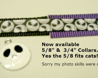 Nightmare Before Christmas SMALLER SIZES now available adjustable dog collar Jack Skellington charm LEASHES also Available see other nbc