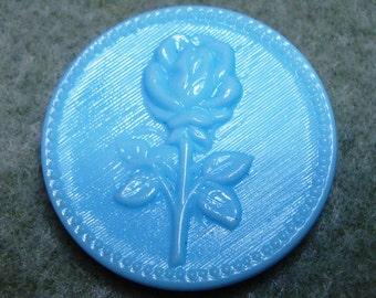 Czech Glass Button 32mm - blue rose (B32200)