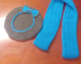 Handmade Crochet Beret and Matching Scarf Set