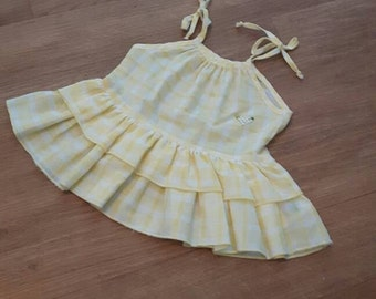 80s YELLOW GINGHAM tunic top 9-12months