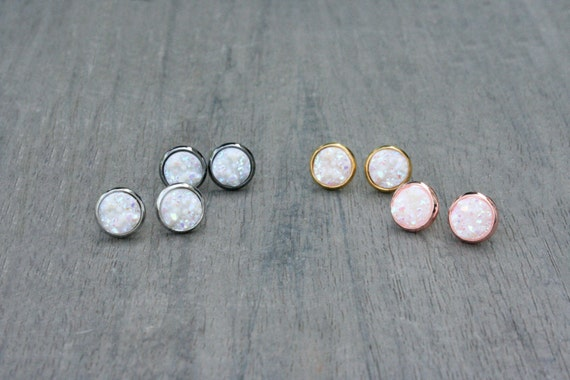 Iridescent White Druzy Studs // Silver, Gunmetal, Gold or Rose Gold // Bridesmaid // Gifts for Her // Stocking Stuffer