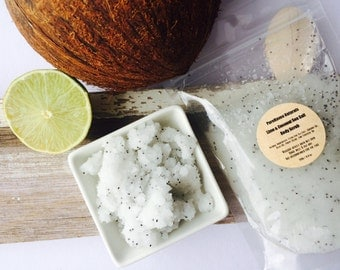 Lime & Coconut Body Scrub. Sea Salt Body Polish. Naturally Purifying. Essential Oils. 2 Sizes. Stand-Up Pouch. Vegan. Gift For Women