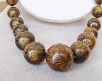 """Brown & Bronze MARBLED NECKLACE Acrylic Chunky Graduated Beads 26"""""""