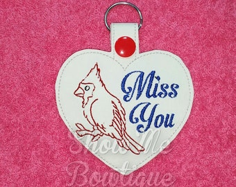 Cardinal Bird Miss You Fob/zipper pull