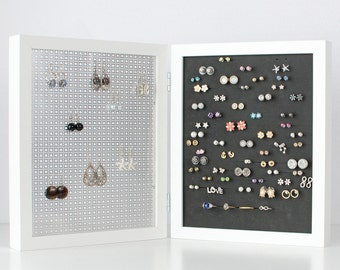 Double Framed Earring Organizer - White 8x10 Frame - Jewelry Organizer - Jewelry Display - Hook & Stud Earring Holder
