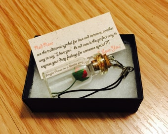 Red rose in a bottle phone strap phone charm