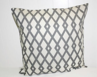 Robert Allen  Home Graphic Fret Greystone, Gray and White Home Decor Pillow