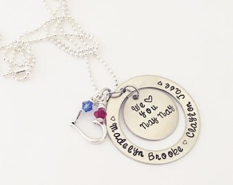 Hand stamped washer necklace, grandna, nana, nona necklace