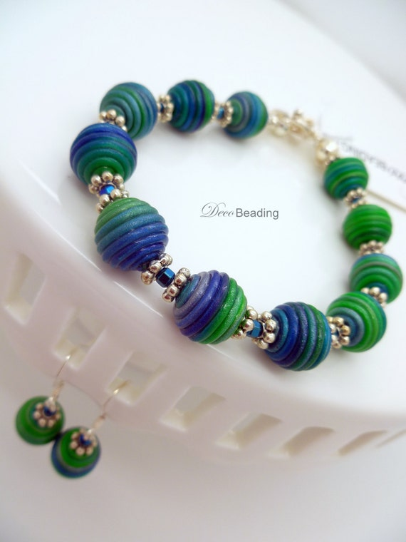 polymer clay bead bracelet and earrings blue and green