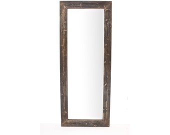 "Rustic Wooden Distressed Espresso Full Length Mirror/ 24""-68""/ Bathroom Mirror/ Floor Mirror/ Leaning Mirror/ Industrial Mirror"