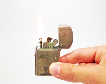Working Antique Nassau Lighter PAT. OCT 3 1911 Spring Loaded Semi Automatic Rare Old Lighter