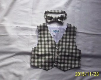 Baby/Toddler Green and Beige Plaid Suiting Vest and Matching Bowtie- Size ,4T,5T