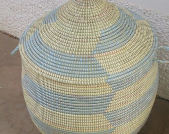 Chevron, Laundry Hamper, African Basket, Handwoven Basket, Orange and beige, sky blue and beige