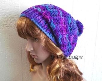 Pom Pom Slouchy Beanie Hat, Galaxy Crochet Women Slouchy Hat by Vikni Designs