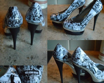 LIMITED EDITION: Walking Dead Black and Silver Cut Out Heels