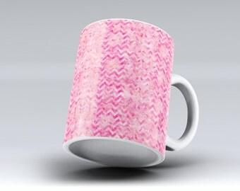 Pink Basic Watercolor Chevron Pattern-ink Fuzed Ceramic Coffee Mug or Tea Cup