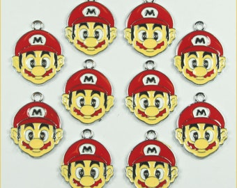 10PCS MARIO Enamel Metal Charms Pendants Jewelry Making Crafts Boys Girls Birthday Party Favors Gifts DIY
