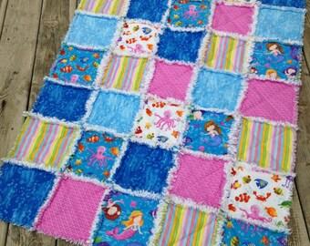Baby Girl Rag Quilt, Crib Quilt, Mermaids Quilt, Toddler Quilt, Nursery Blanket, Pink, Blue, White, 35 X 48, Handmade, Ready to Ship