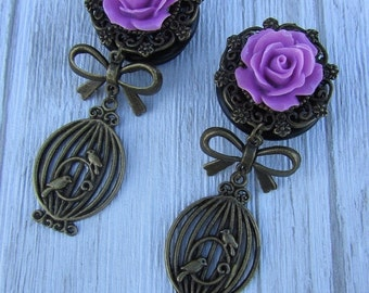 ON SALE birdcage earring plugs bronze antique charms bow, rose flower plugs, girly, pixie, wedding, hippy, gipsy, blue, red, green, black, p