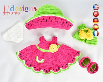 PATTERN  - (JUST CLOTHES) Watermelon Dress (crochet, amigurumi)
