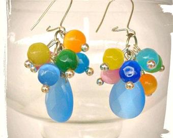 briolette earrings,dangle earrings,OOAK,cat eye,beaded earrings,colorful,blue,yellow,orange,Greek shop,boho earrings, gift for her