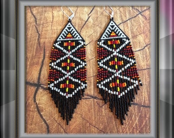 "Seed Beaded Fringe Earrings ""Rituals"""