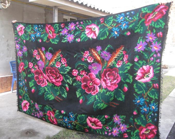 Bessarabian Kilim. Vintage Kilim, Handmade 50-60 years old, handmade.rose carpet, Ukrainian, Bessarabian carpet, ber