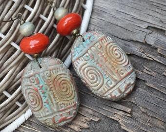 Polymer Clay Earrings Long Earrings Dangle Earrings Ethnic Earrings Ethnic Jewelry Handcrafted Jewelry Tribal Earrings Bright Earring Fimo