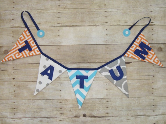 Name Banner  - Baby Shower decoration - Fabric Name Bunting , Name Flags , Fabric Pennants , Party Bunting - Orange - Grey - Blue