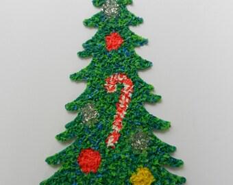 Vintage Plastic Popcorn Christmas Tree, Christmas Decoration, Melted Plastic Popcorn
