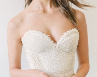 Powell // A Wedding Dress With a Hand Ruched Bustier and Layered Chiffon Skirt