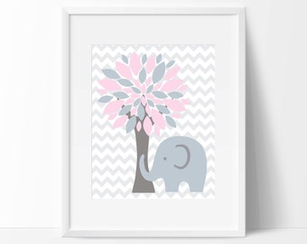 Elephant and Tree Nursery Art Print, Wall Art Prints, Pink and Gray Nursery Prints, Baby Girl Nursery Wall Art Print and Bedroom Decor- H146