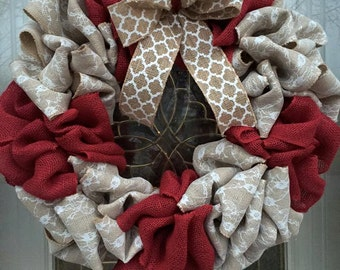 Burlap and lace and red/burgundy wreath