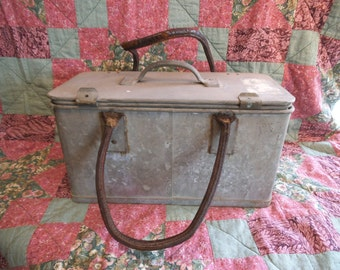 Vintage Galvanised Container With Leather Handles - Welwyn Metal Products - 1937