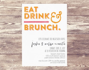 Printed Brunch Invitation, Brunch Invite, Bridal Shower Invitation, Baby Shower Brunch, Champagne Brunch, Wedding Shower, Newlywed Brunch